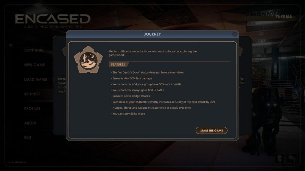 Encased Journey difficulty settings